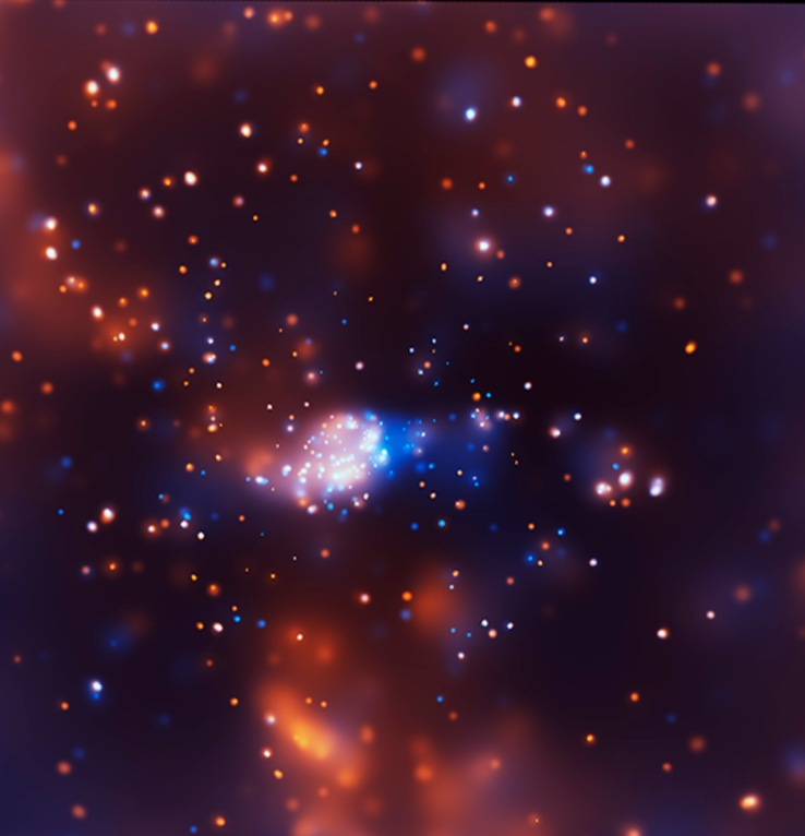 Chandra's image of NGC 3576 (lower-energy X-rays in red, higher-energy X-rays in blue) reveals a cluster of point-like X-ray sources, some of which are massive young stars that are shredding the gas cloud from which they formed. Because NGC 3576 is very dense, many of the young, massive stars visible in the Chandra image have previously been hidden from view. A cluster of stars is visible in infrared observations, but not enough young, massive stars have been identified to explain the brightness of the nebula. Regions of diffuse X-ray emission are likely caused by hot winds flowing away from the most massive stars.